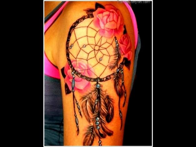 dream catcher rose tattoo design photo - 1