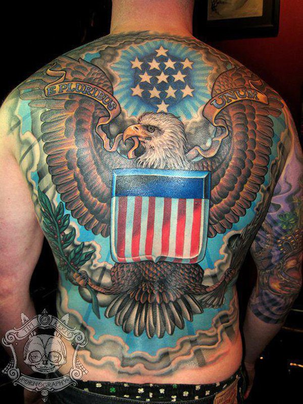 dreamcatcher with american flag tattoo design photo - 1