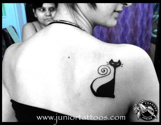 egyptian cat tattoo on lower waist photo - 2