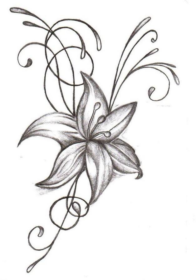 elegant hibiscus flowers tattoo design photo - 1