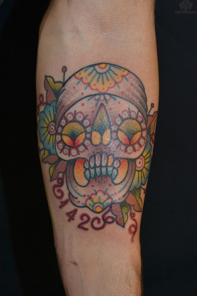 extreme sugar skull tattoo on chest photo - 1