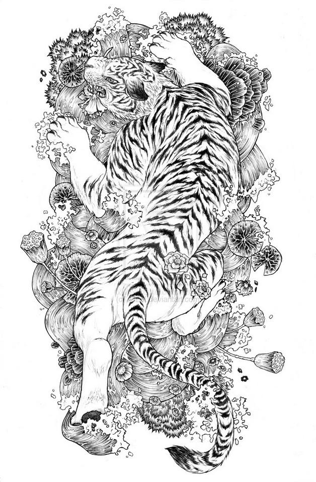 white tiger tattoos - 736×1137