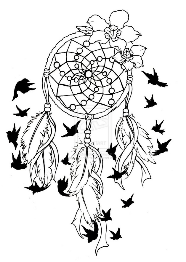 Feather Dream Catcher Tattoo Stencil