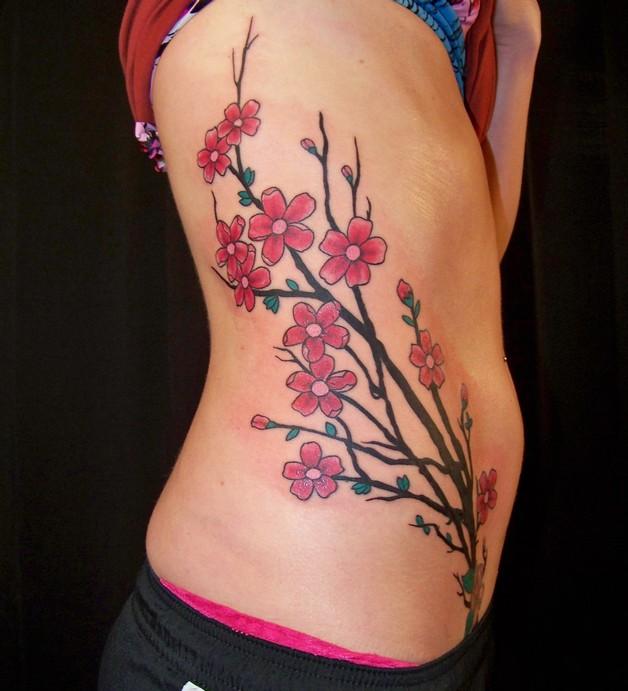 feminine cherry blossoms tattoo design photo - 1