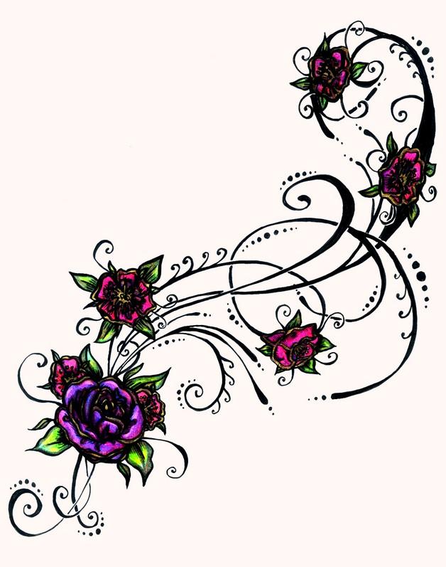feminine hibiscus flower tattoo on belly photo - 1