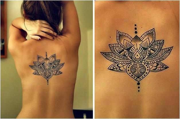 feminine lotus tattoo on upper back photo - 1