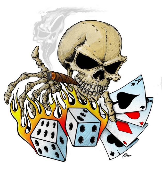 flames dice n stars tattoo design photo - 2