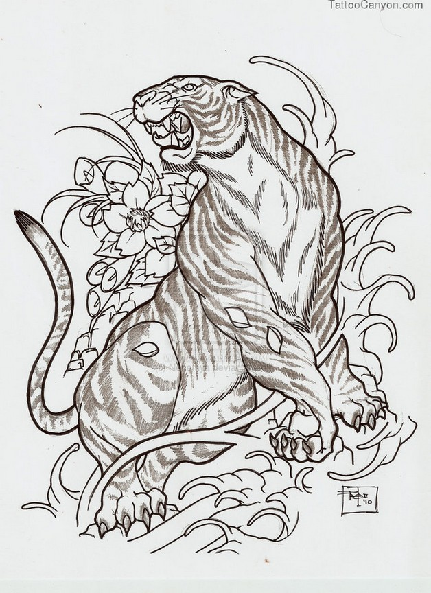 flowers and japanese mask tattoo design photo - 2