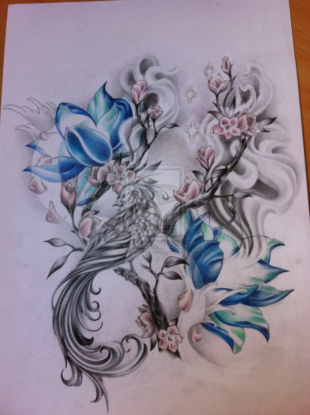 Flowers and phoenix tattoos sketch All Tattoos For Men