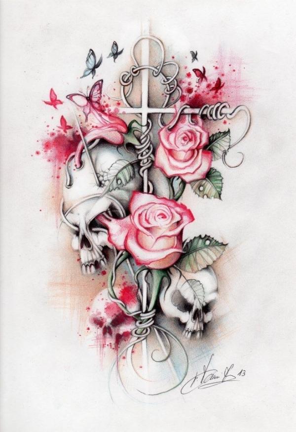 flowers n hummingbird tattoo design for girls photo - 2