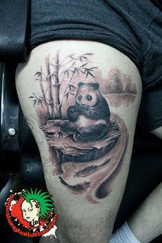 flowers panda and bamboo tattoos photo - 1