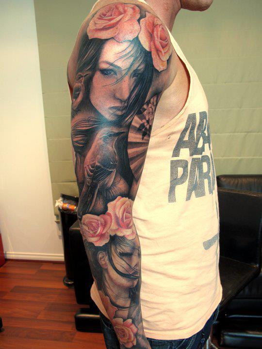 flowers portrait tattoos on sleeve photo - 2
