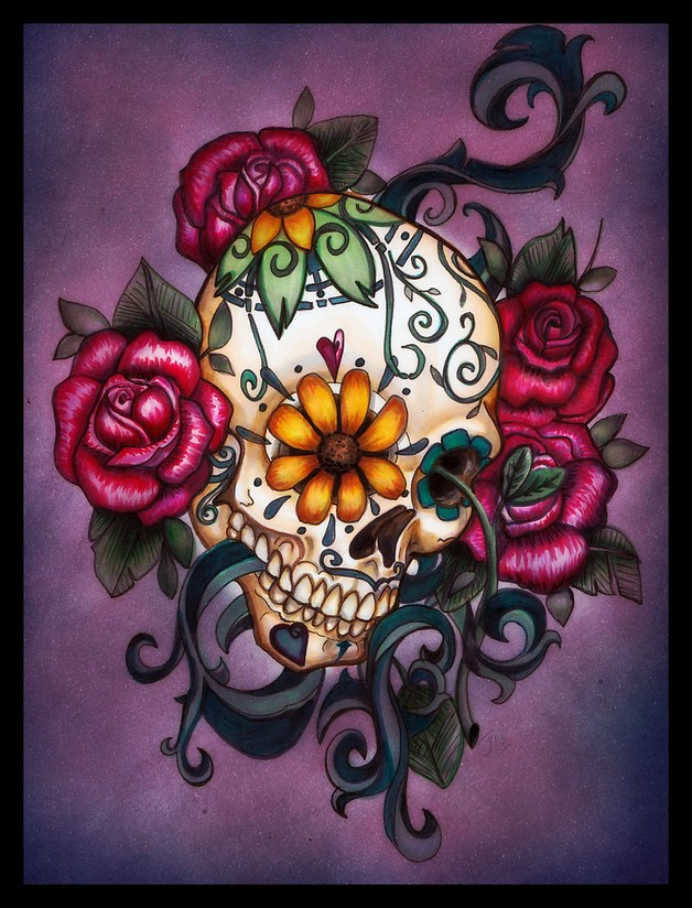 Flowers Sugar Skull Dia De Los Muertos Tattoo Design