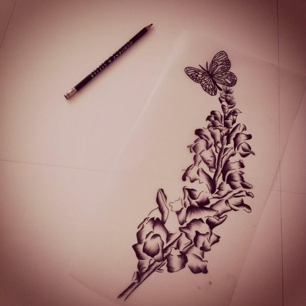 flowers tattoo on hip photo - 1