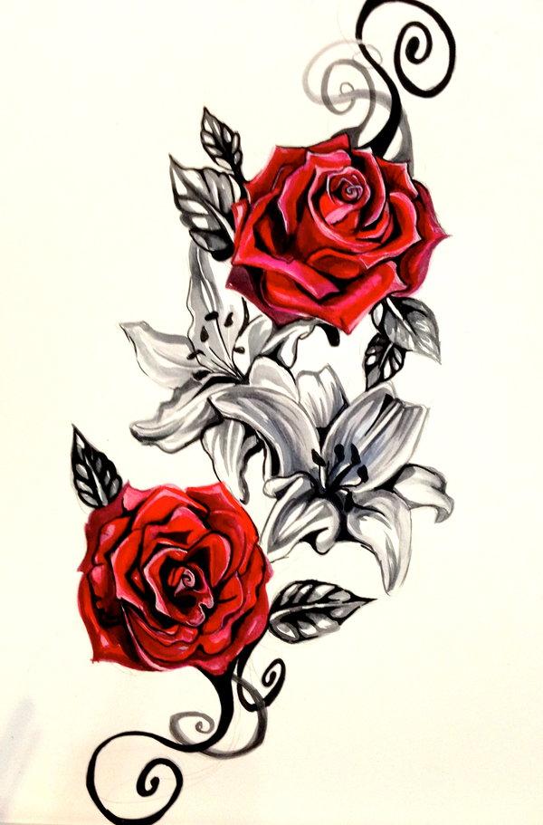 Flowers vine right leg tattoo design