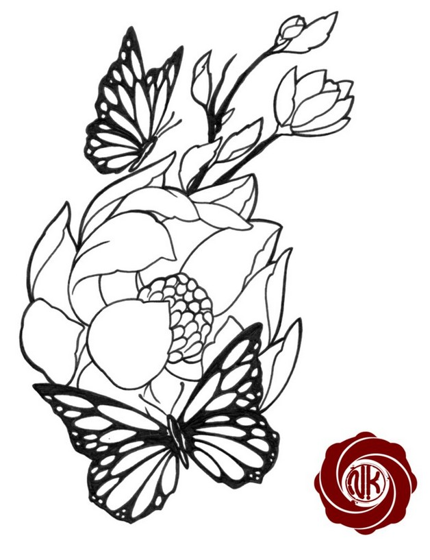 Line Drawing Butterfly Tattoo : Flowers with butterfly tattoo