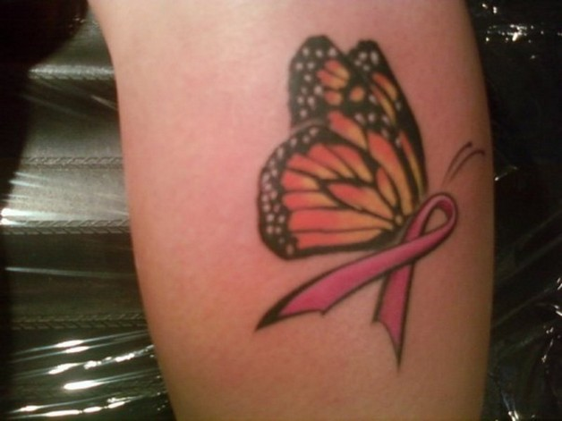 Flowers with pink breast cancer ribbon tattoo - All Tattoos For-Men