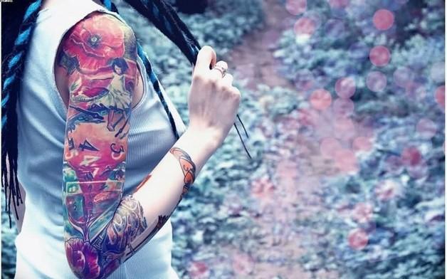 full sleeve tattoos of flowers photo - 1