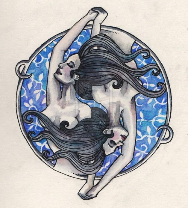 gemini symbol with nautical stars tattoo design. Black Bedroom Furniture Sets. Home Design Ideas