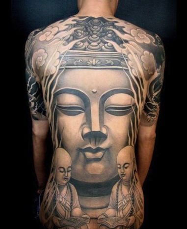 grey ink buddhist tattoo on back of shoulder photo - 1