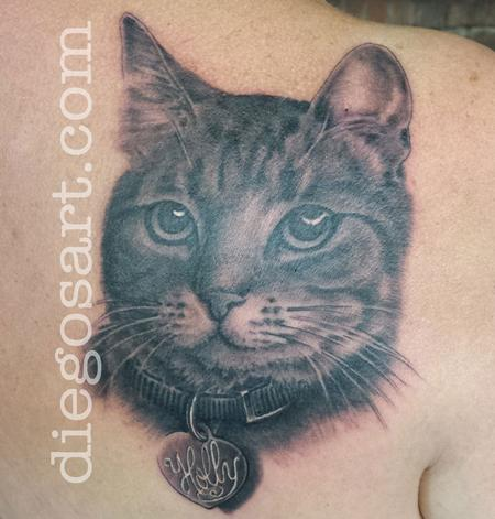 grey ink cat head portrait tattoo photo - 1