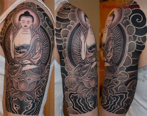 half sleeve buddhist tattoo image photo - 2