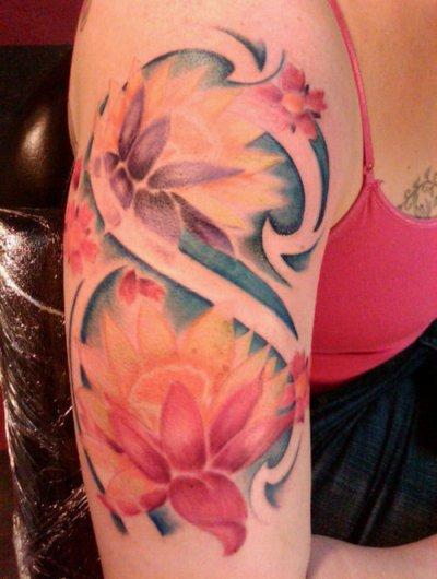 Half Sleeve Camera With Yellow Flowers Tattoo Design