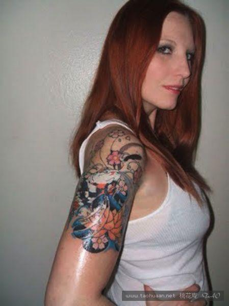 half sleeve japanese mask and flowers tattoo design photo - 2