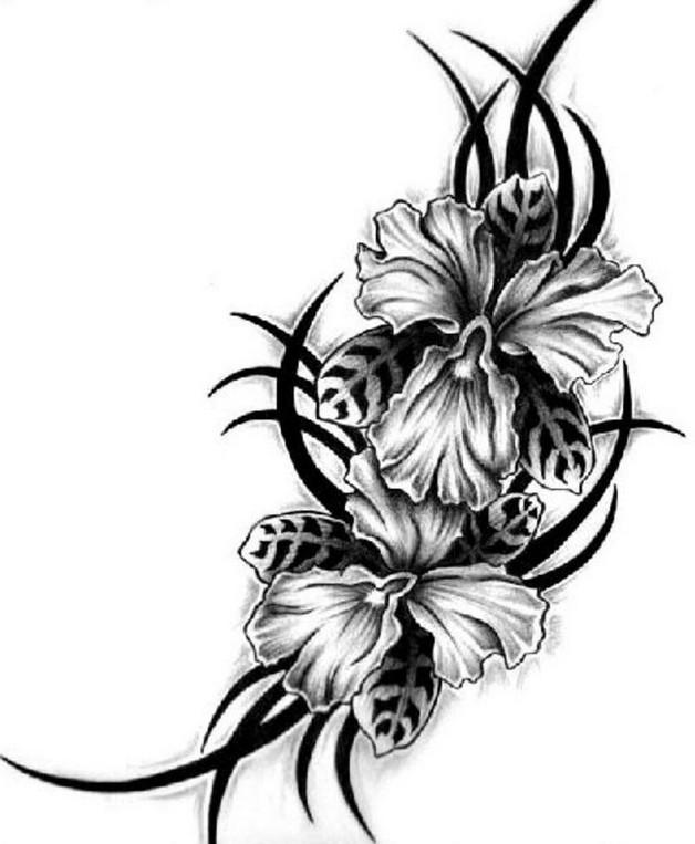 hawaiian flowers tattoo design. Black Bedroom Furniture Sets. Home Design Ideas