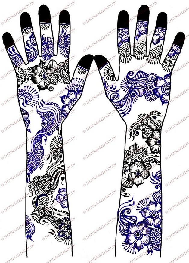 henna mask and flowers tattoo design photo - 2