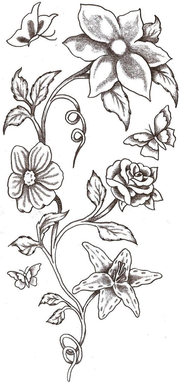 hummingbird n flowers tattoo design photo - 1