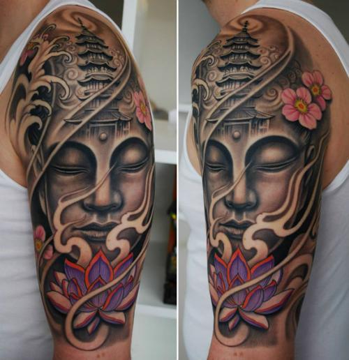 japanese buddhist tattoo design photo - 1