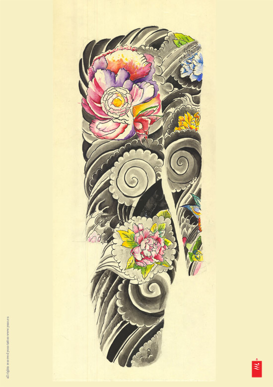 Japanese flowers and wave tattoos on sleeve for Japanese wave and flower tattoo