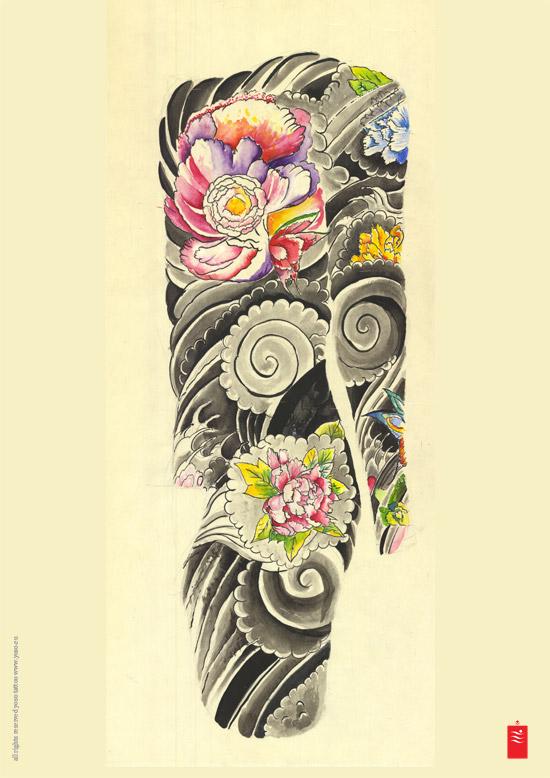 japanese flowers and wave tattoos on sleeve. Black Bedroom Furniture Sets. Home Design Ideas