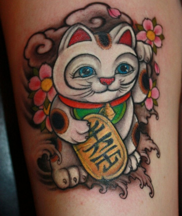 japanese lucky cat tattoo. Black Bedroom Furniture Sets. Home Design Ideas