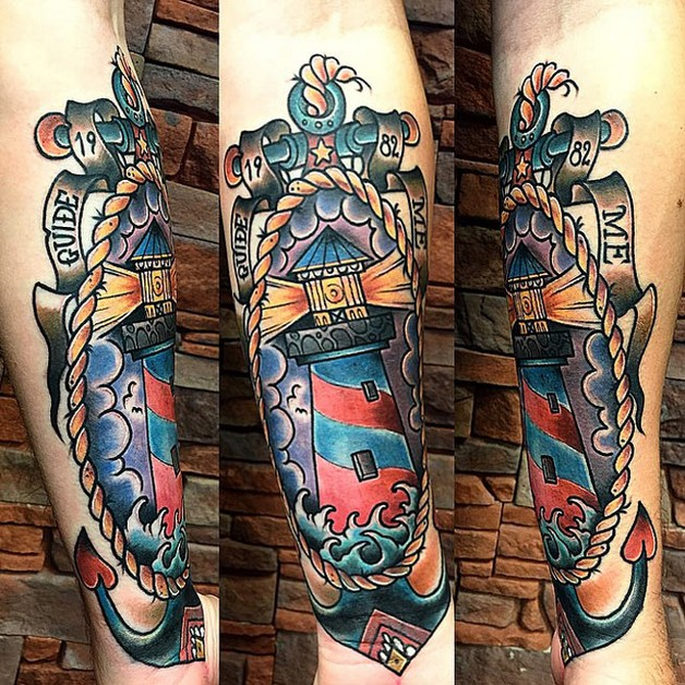 lightning lighthouse star and anchor tattoos photo - 1