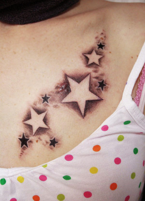 little moon and stars tattoos on belly for girls photo - 2