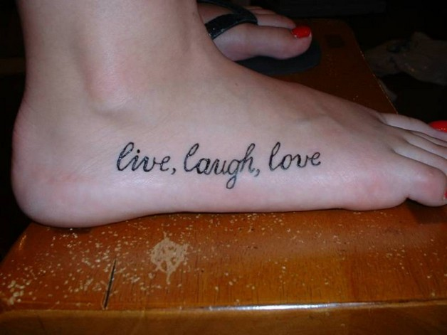 Live laugh love and flowers tattoo on foot for Live love laugh tattoo
