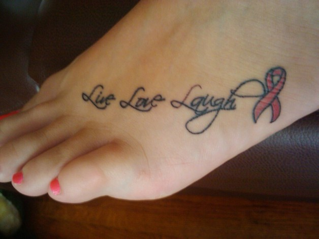 live laugh love and stars tattoo on foot photo - 1