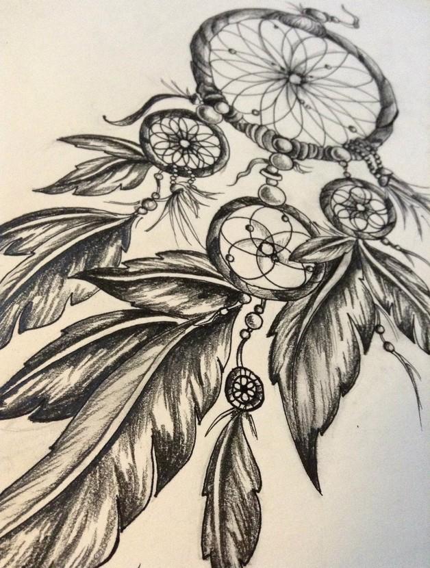 lock dream catcher tattoo design photo - 2
