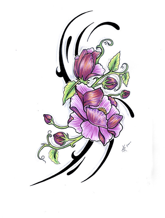 lotus and flowers tattoo sketch photo - 1