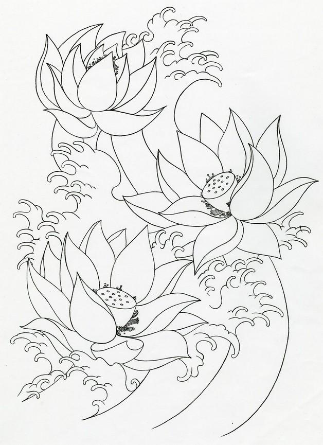 lotus flowers tattoo set photo - 2