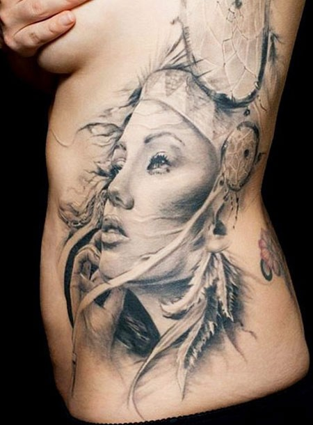 lovely dream catcher tattoo on thigh of girl photo - 2