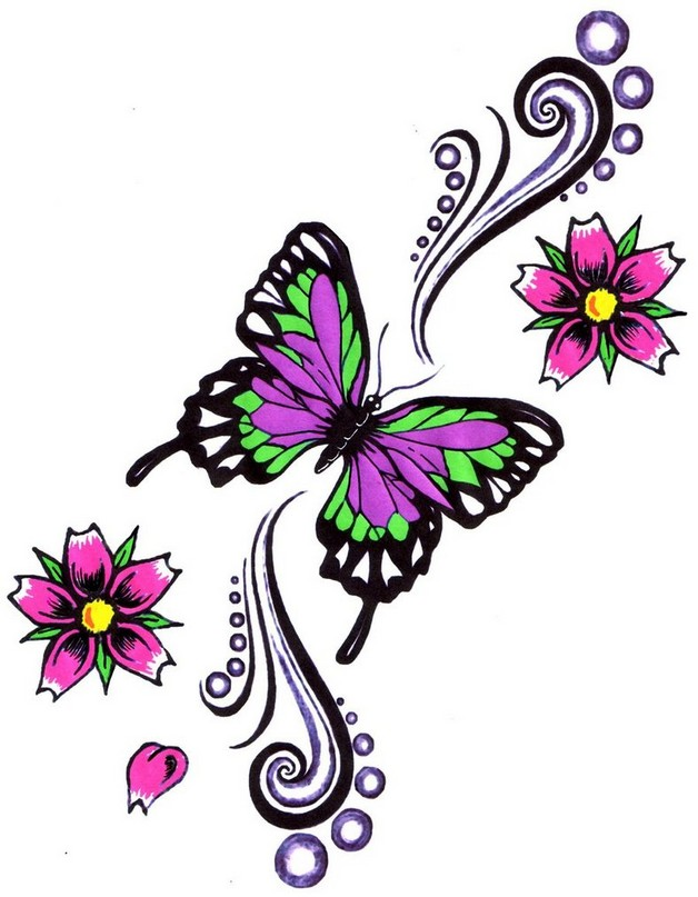 lovely flowers butterfly ankle tattoo design photo - 1