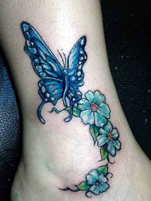 lovely flowers butterfly ankle tattoo design photo - 2