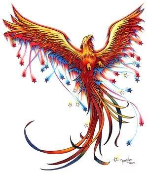 lovely phoenix tattoo with falling stars photo - 1