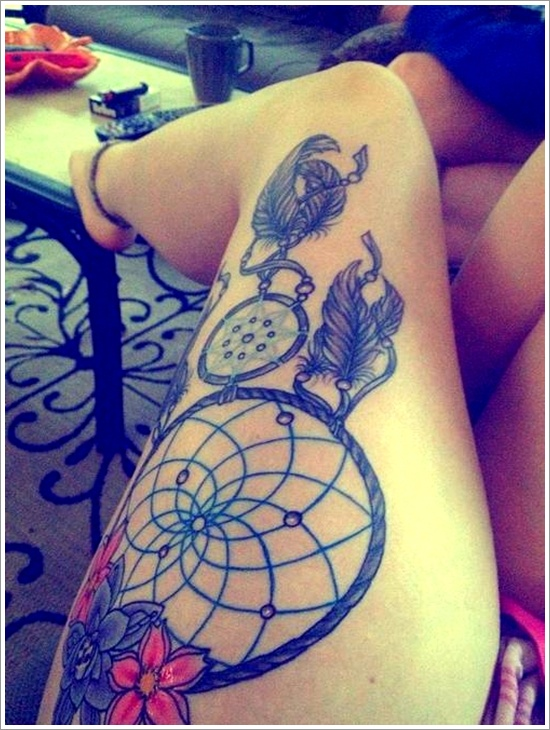 lovely watercolor dreamcatcher tattoos photo - 1