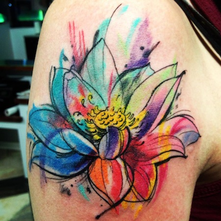 matryoshka and blue flowers tattoo design photo - 1