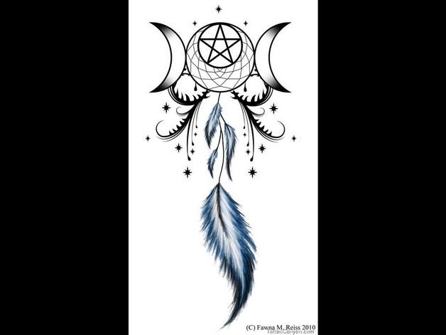 Moon Goddess Dreamcatcher Tattoo Design