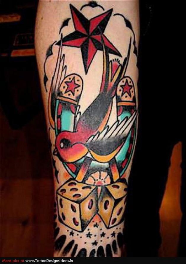 nautical star gambling cards tattoo on shoulder photo - 1